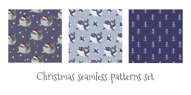 クリスマスのシームレスなパターンのセット