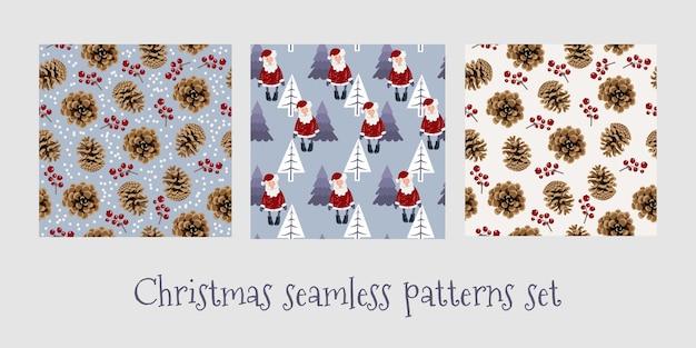 Набор рождественских бесшовные шаблоны