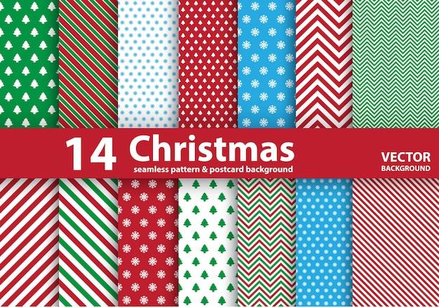 クリスマスのシームレスなパターンのセット。