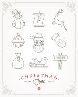 クリスマスのサインとシンボルのセット