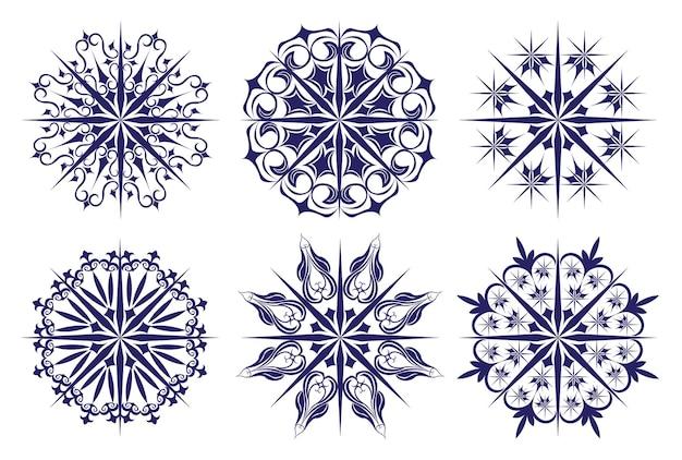 クリスマスの雪とパターンのセット