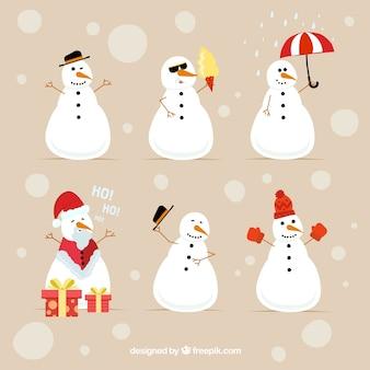 クリスマスの雪だるまのセット