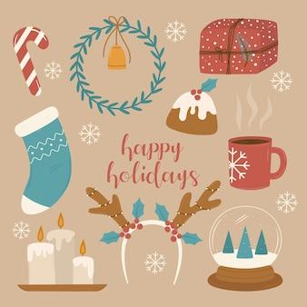 Набор рождественских носков подарочная коробка оленьи рога свечи снежный шар чашка венок конфета кекс