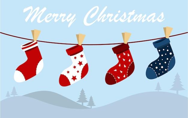 Набор рождественских носков современные векторные иллюстрации с другим дизайном на фоне снега