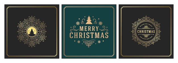 クリスマスの正方形カードのセット