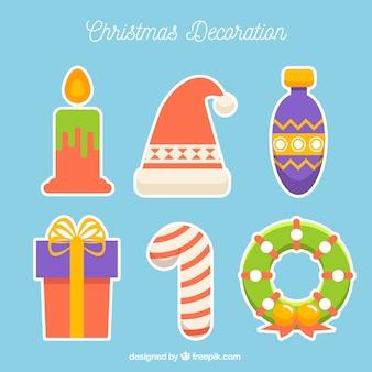 Набор рождественских наклеек в плоском дизайне