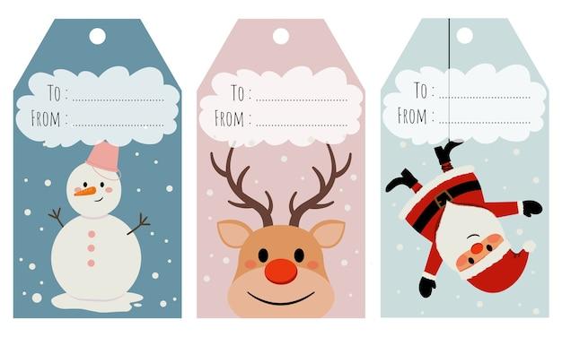 ギフトやプレゼントのラベルのクリスマスタグのセットです。休日。