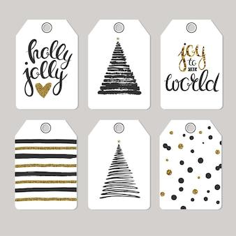 Набор рождественских тегов для подарков и подарков векторные печати подарочные теги, изолированные на сером фоне