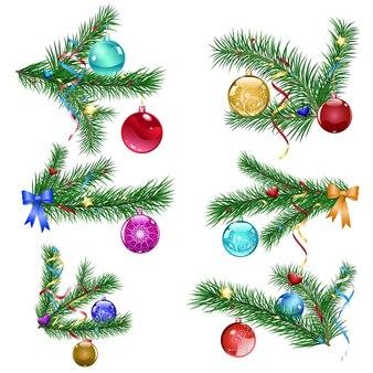 Набор веток елки с тремя елочными шарами и серпантином