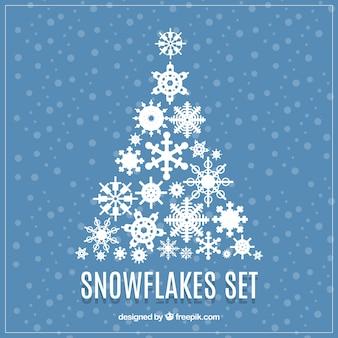 Set of christmas tree made of snowflakes