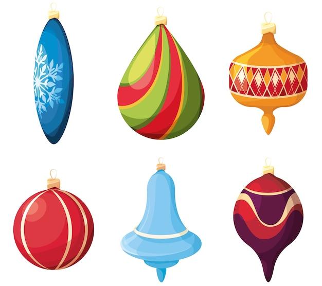 Набор елочных игрушек. праздничный декор в мультяшном стиле.