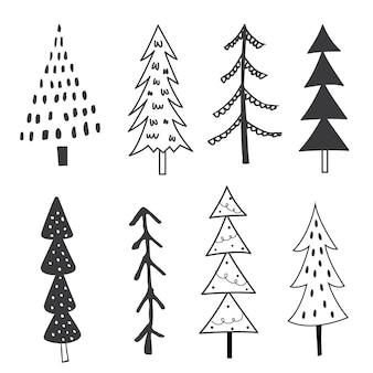 흑백 컬러의 크리스마스 트리 세트