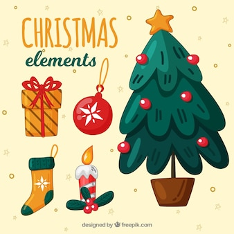 Set of christmas tree with elements
