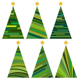 Набор новогодних елок. отдельные векторные иллюстрации для веселого рождества и счастливого нового года.