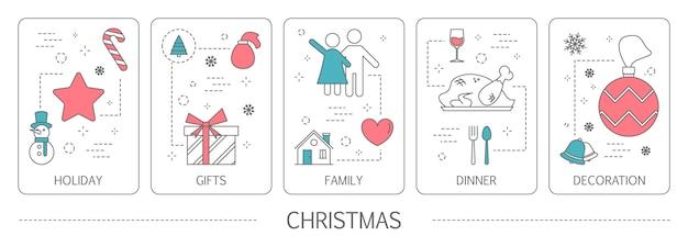 Набор рождественских вертикальных баннеров. идея праздника, ужина, семьи и украшения. новогодняя открытка. иллюстрация