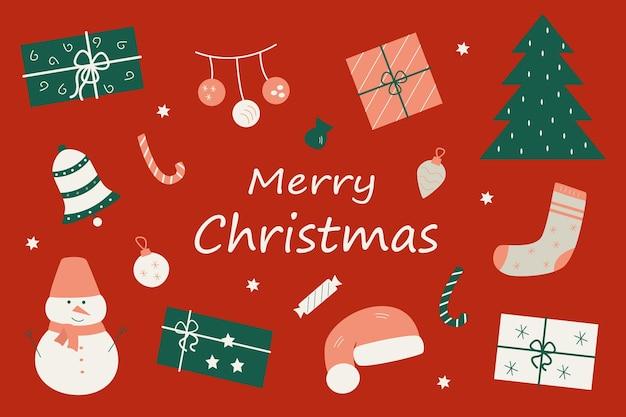 Набор рождественских зимних элементов, векторная открытка с рождественскими рисунками.