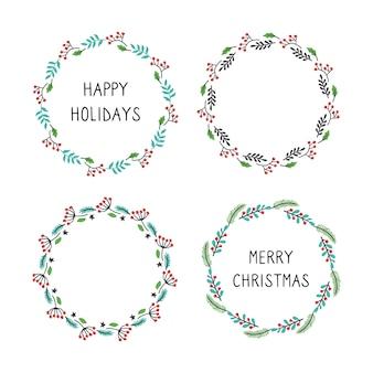 Набор рождественских венков цветочная рамка для украшения текста.