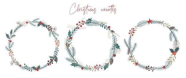 カードと招待状のクリスマスリースのセット