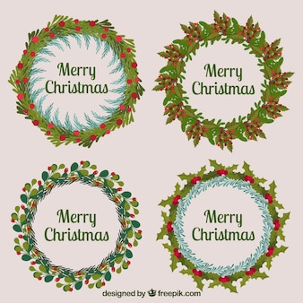 レトロスタイルのクリスマスリースのセット