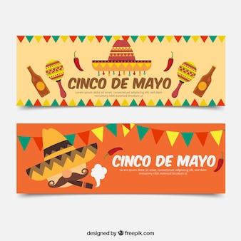Набор баннеров cinco de mayo в плоском стиле