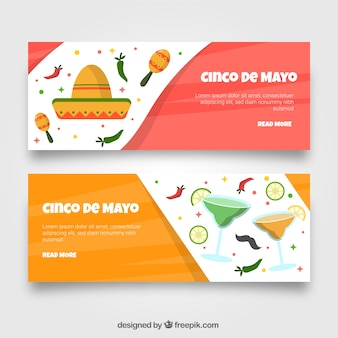 Set of cinco de mayo banners with mexican elements in flat style
