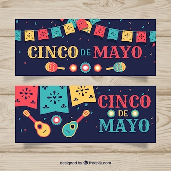 Set of cinco de mayo banners with mexican elements