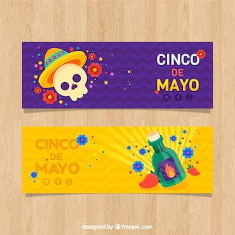 Set of cinco de mayo banners with skull in flat style