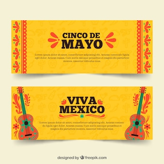 Set of cinco de mayo banners with traditional elements