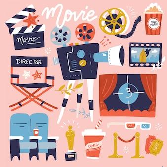 Набор кино плоские цветные каракули иллюстрации. коллекция многих предметов из фильмов. катушка, камера, билет, с 'хлопушкой' и фаст-фуд. плоский мультфильм иллюстрации.