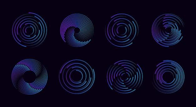 円の点線のスピードラインのセットフレームロゴタトゥーウェブページプリントのデザイン要素