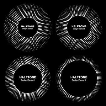 サークルフレームのセットハーフトーンドットロゴコレクション