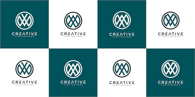 サークルラインのロゴデザインコンセプトのセットです。サークルロゴセットコレクションの文字aw