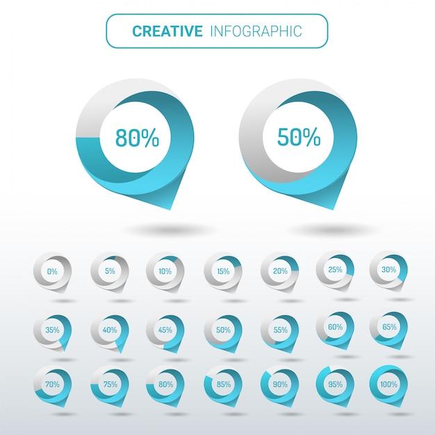 인포 그래픽에 대한 원 백분율 다이어그램 세트