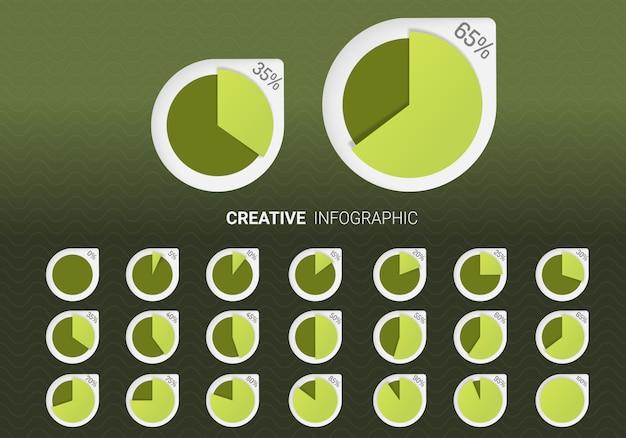 Webデザイン、ユーザーインターフェイスの円の割合図のセット。