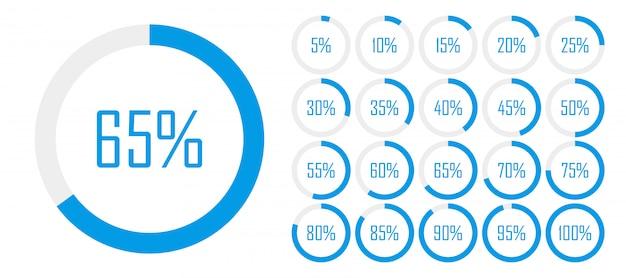 웹 디자인을위한 0에서 100 사이의 원 백분율 다이어그램 세트