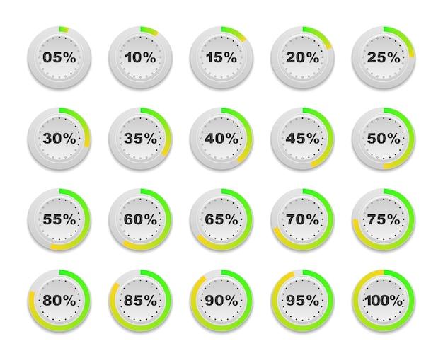 웹 디자인 사용자 인터페이스 ui에 사용할 준비가 된 원 백분율 다이어그램 세트