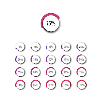 5 % 단계의 원 백분율 다이어그램 세트. 인포 그래픽 다이어그램, 웹 디자인을위한 그림
