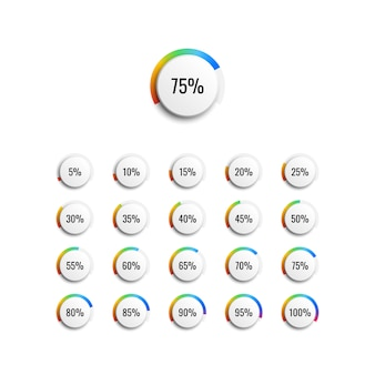 Набор круговых процентных диаграмм с индикатором градиента радуги и 5% шагов векторная иллюстрация для инфографики диаграмм