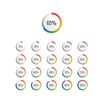 虹のグラデーションインジケーターと5ステップのベクトル図と円のパーセンテージ図のセット