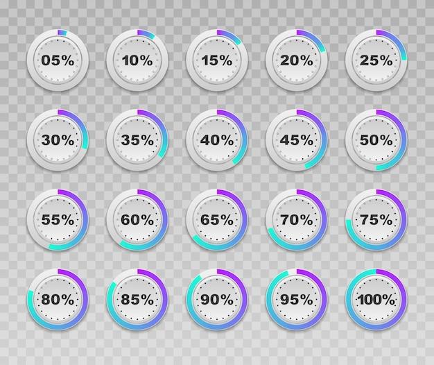 원형 백분율 다이어그램 세트