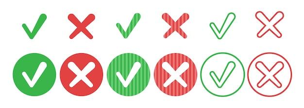 Набор простых веб-кнопок круга, зеленая галочка и красный крест с закругленными углами v