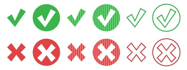Набор круглых веб-кнопок, зеленая галочка и красный крест с острыми углами