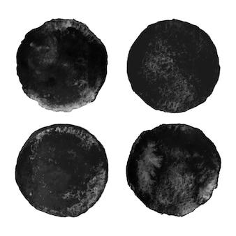 円形の黒い水彩画のセット