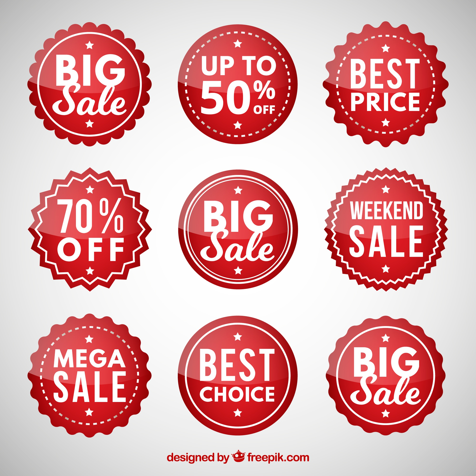 Set of circular discount stickers