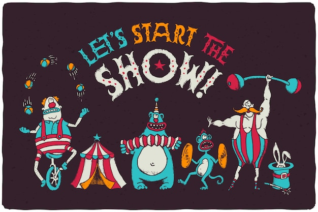 Набор иллюстраций цирковых персонажей