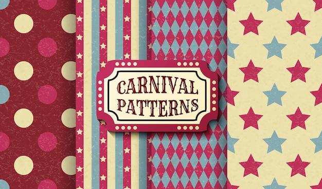 Набор ретро старинных цирка бесшовные шаблоны. текстурированные старомодные шаблоны карнавальных обоев. коллекция векторных текстур фона плитки. для вечеринок, дней рождений, элементов декора.