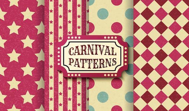 サーカスレトロヴィンテージシームレスパターンのセットです。テクスチャード加工の昔ながらのカーニバルの壁紙テンプレート。ベクトルテクスチャ背景タイルのコレクション。パーティー、誕生日、装飾的な要素のために。