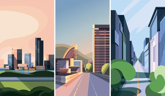 도시 풍경의 집합입니다. 현대적인 건물이있는 도시 경관.
