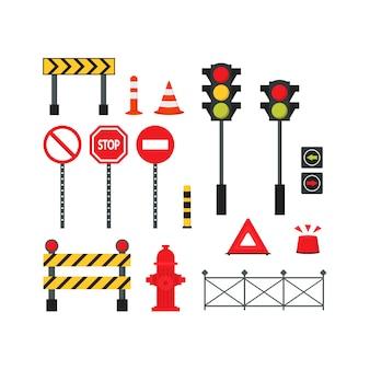 Набор городских дорожных элементов Premium векторы