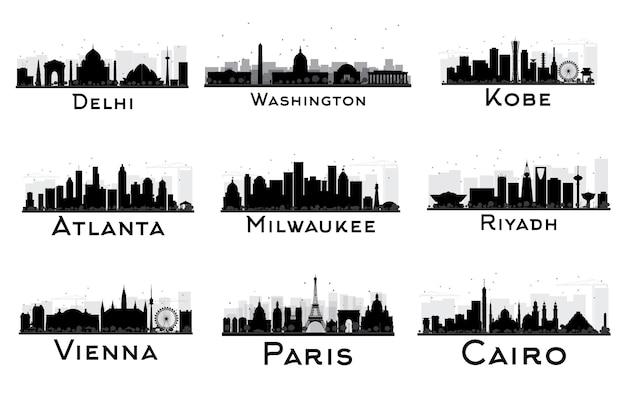 Набор городского горизонта черно-белый силуэт. дели. вашингтон. коби. атланта. милуоки. эр-рияд. вена. париж. каир. городской пейзаж с достопримечательностями